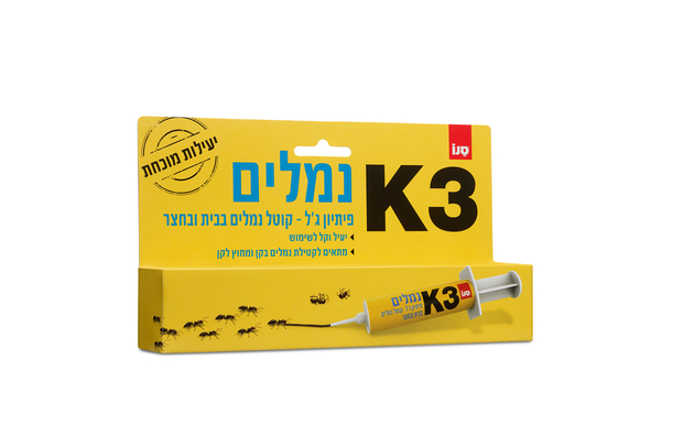 סנו K3 משיקה: דור חדש בהדברה! K3 נמלים- פיתיון ג'ל, קוטל נמלים בבית ובחצר. סקירה דוסיז צרכנות